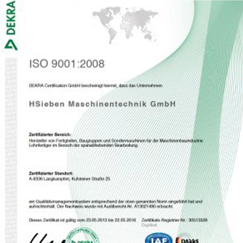 HSieben Maschinentechnik Langkampfen - Human Perception Automized Perfection - spanabhebende Bearbeitung, CNC, Fräsen, Automatisation, Aktuelles, Zertifikat ISO 9001:2008