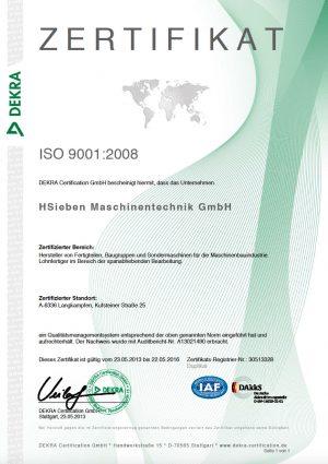 HSieben Maschinentechnik Langkampfen - Human Perception Automized Perfection - spanabhebende Bearbeitung, CNC, Fräsen, Automatisation Zertifizierung Zertifikat ISO 9001:2008